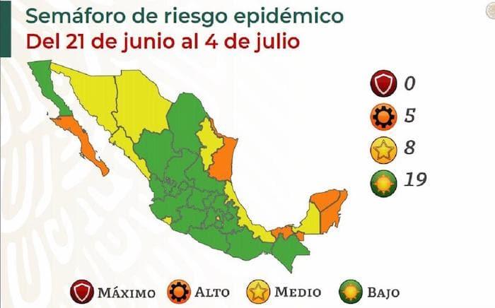 Nuevo León se encuentra entre las ocho entidades de amarillo, es decir que el riesgo es medio, mientras que cinco están en naranja.