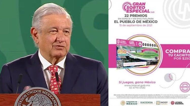 AMLO promociona compra de cachitos para Sorteo de Palco en el Azteca y casas