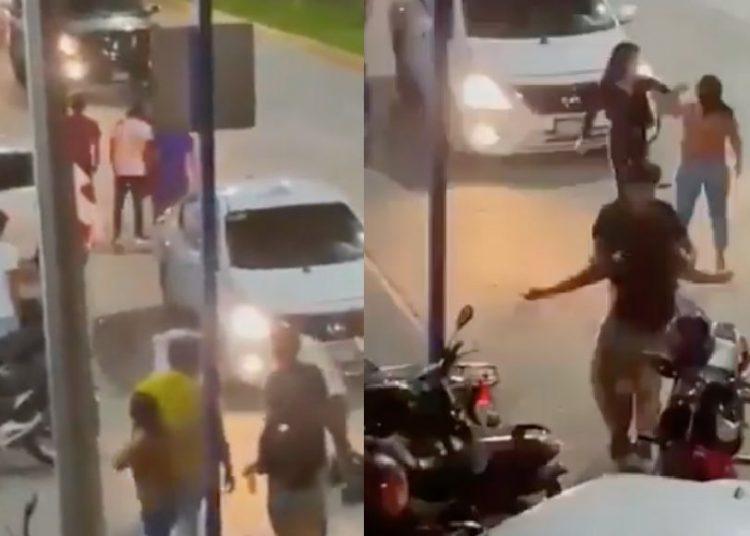 Una mujer noquea a otra afuera de un bar y genera indignación