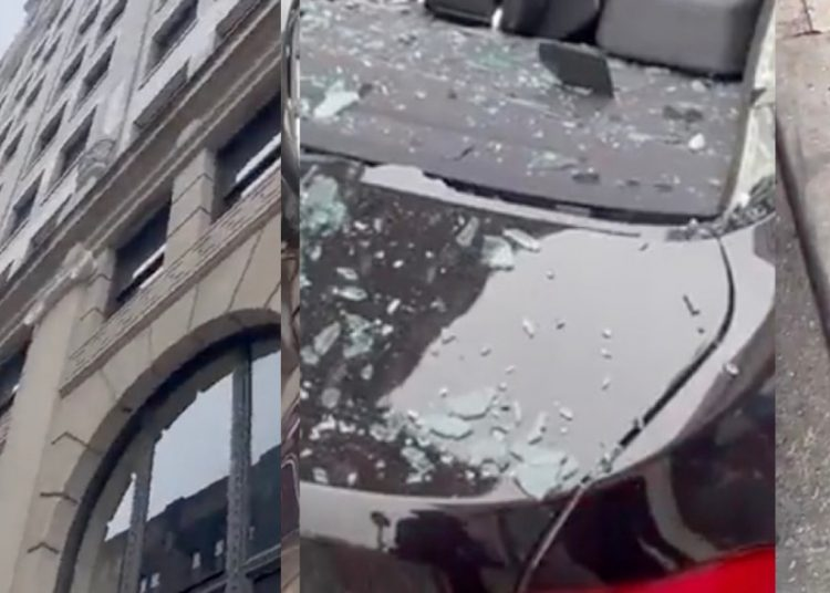 Hombre cae desde un rascacielos, cae sobre un BMW y sobrevive
