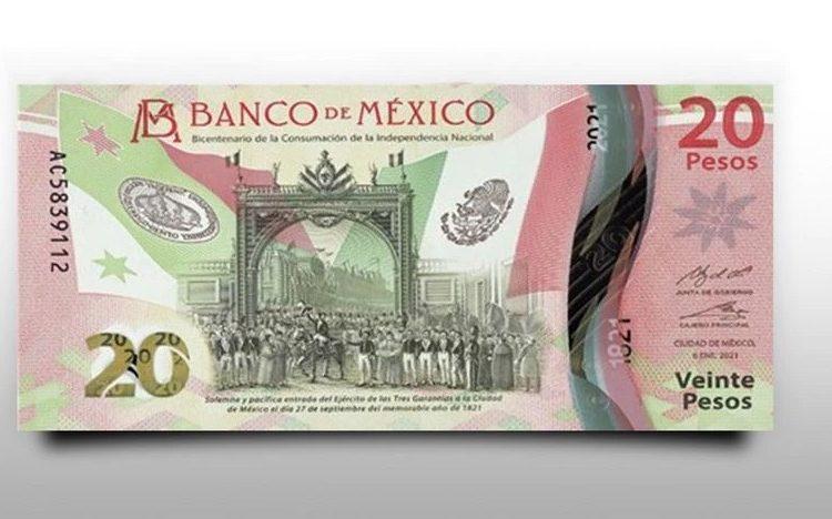 Nuevo billete de 20 pesos del Bicentenario de la Independencia supera los 780 pesos por internet