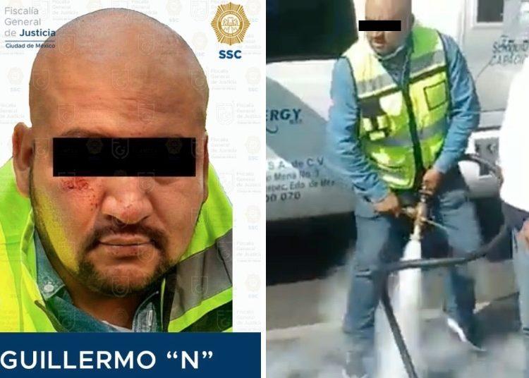 Dan prisión preventiva contra gasero que roció con manguera de pipa a policía