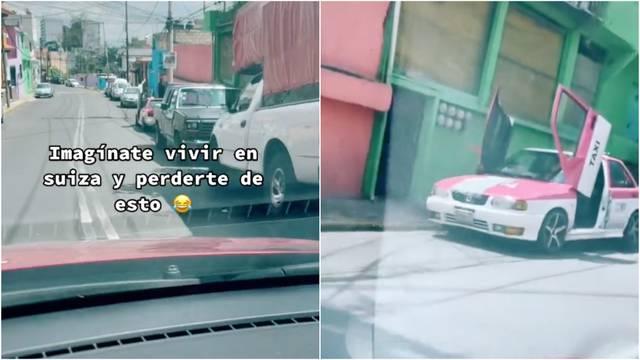 """Taxi sorprende con sus puertas elevadas; lo llaman """"el Lambotsuru"""""""