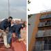 Vecinos denunciaron en redes a una persona que colocó un tinaco en el balcón de un quinto piso, el cual estaba sostenido de un lazo y dos tablas.